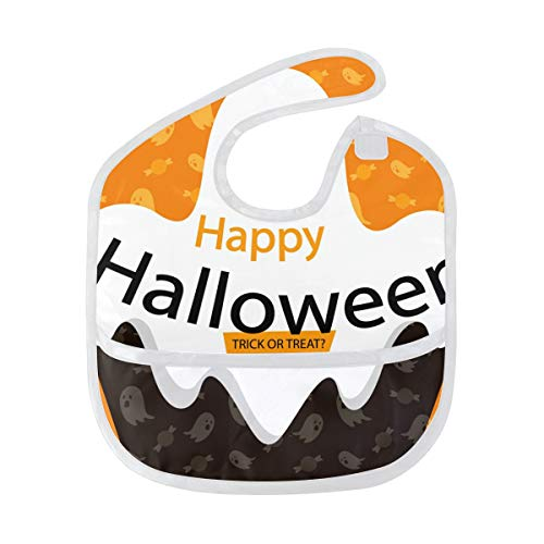 (Bib Boy Girl Food Catcher Happy Halloween Ghost Orange Scary Weaning Baby Waterproof)