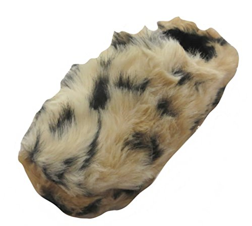 Ladies Brown Leopard Print Fur Mule Slippers - Sizes 3-8 Available