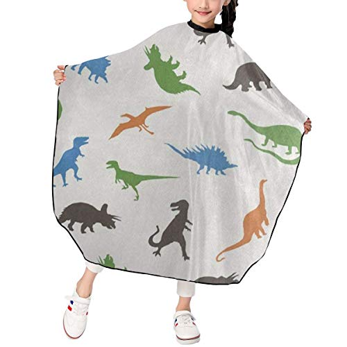 Cartoon Dinosaur Silhouette Kids Barber Cape Professional Home Salon Camps & Hairdressing Hair Cutting Wrap Cloth Apron for Boys/Girls/Children