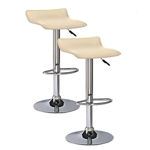 Adjustable Matt Nickel (MattsGlobal Contemporary Adjustable Height Faux Leather and Chrome Swivel Stool Set of 2 (Off-White))