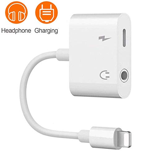 Headphones Adapter for iphone 7 Splitter 2 in 1 Adapter Compatible Charger and Listen to Music Aux Adapter Audio + Charge Headphone Jack Adaptor for iPhone 8/8Plus/XR/X/XS/XS max Support iOS 12 -White