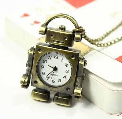 Classic Lovely Fashion Jewelry Robot Pocket Watch with Free Jewelry Pouch