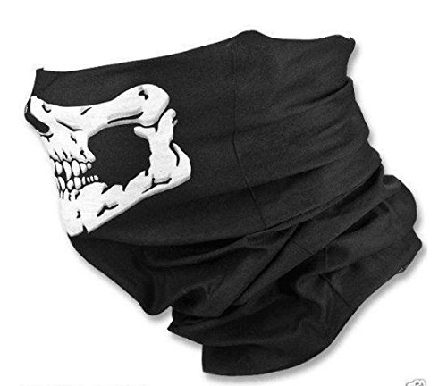 [Drhob 1pc Black seamless multi-function magic scarf Changed the mask Warm scarf Halloween costumes Skull] (Scarf Halloween Costumes)