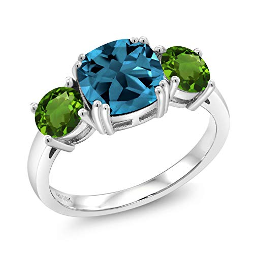 Gem Stone King 3.65 Ct Cushion London Blue Topaz Green Chrome Diopside 925 Sterling Silver Ring (Size 8)