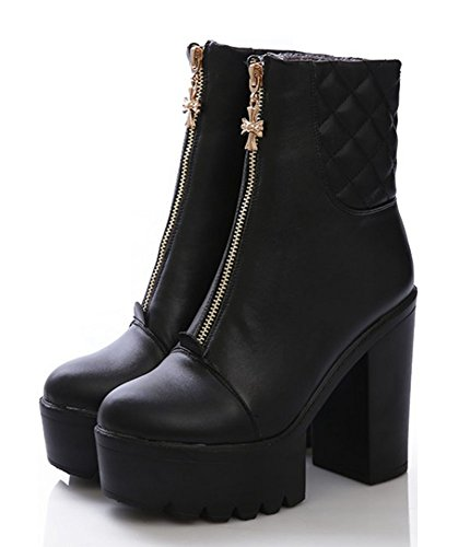 Black Fashion Stacked Booties High Shoes Dress Platform Toe Women's Heels Ankle Zipper Front Aisun Boots Round 58Zqwxa