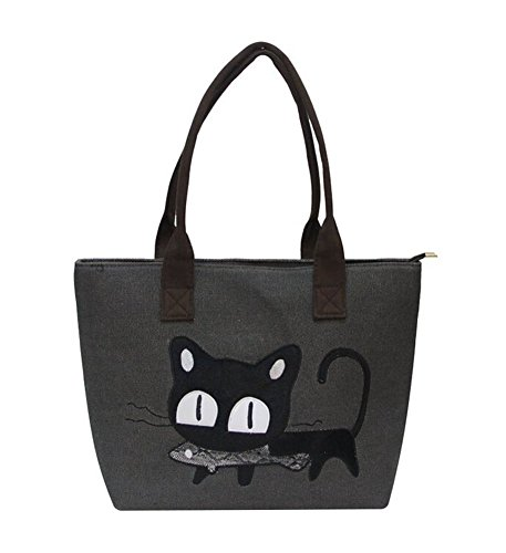 Print Large Shopper Handbag (Canvas Beach Bag - Feelme Cat Print Shoulder Shopper Handbag Large Shopping Tote with Zip)