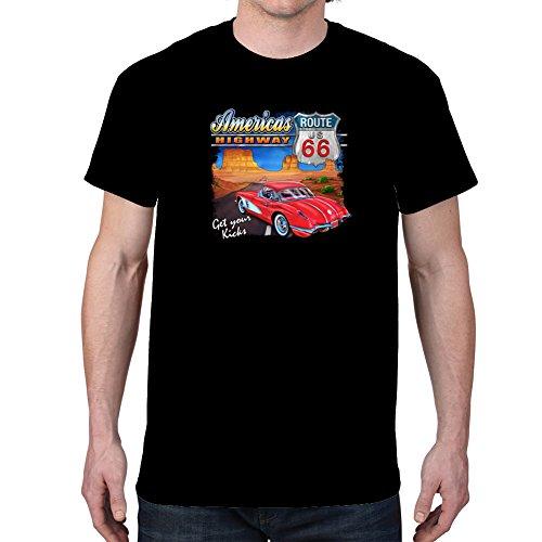 Ptshirt.com-19082-Men\'s AMERICAS HIGHWAY CAR ROUTE 66 T-shirt-B019GCHJ6K-T Shirt Design