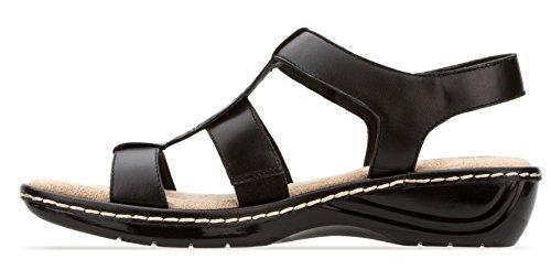 Sandalo Piatto Donna T-bar Nero Sandalo Comfort In Pelle E Memory Sottopiede Scarpe