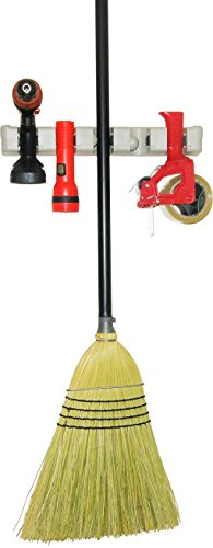 BROOM AND MOP HOLDER Wall Mounted –Also ideal for Tools, Garden and Sports Equipment as well as Musical Instruments and General Storage