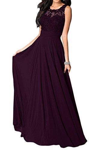 Missdressy Vestido de mujer elegante de gasa, cuello redondo, sin mangas, vestido de noche largo de fiesta morado 52
