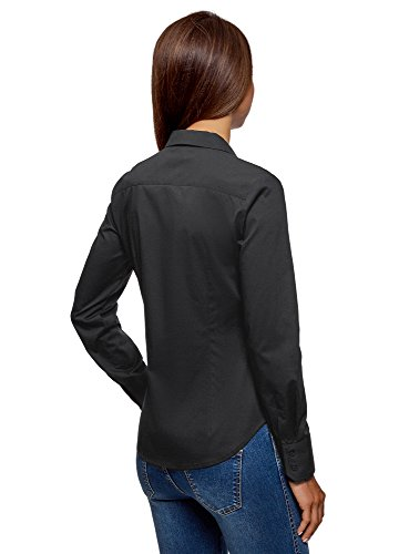 Ultra en Noir Femme Basique 2900n Chemise Coton oodji vgxZdqvw