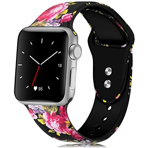 KOLEK Bands with Compatible Apple Watch Series 4/3/2/1 42mm 44mm, Flower Bands Compatible for iWatch for Women/Men, M/L