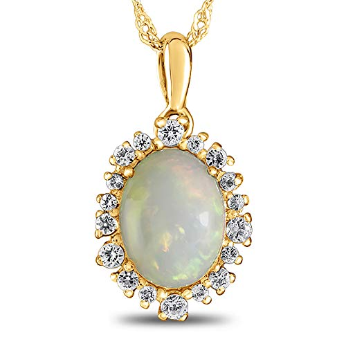 Finejewelers 10k Yellow Gold Oval Opal with White Topaz accent stones Halo Pendant Necklace