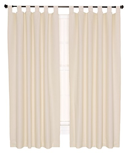 Ellis Curtain Crosby Thermal Insulated 80 by 63-Inch Tab Top Foamback Curtains, Natural