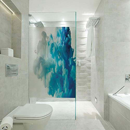 (DIY Home Decoration Glass stickers,Abstract Illustration Clouds Skyline Smoke Mixed Liquid Flow Movement Art Print Decorative,W23xL47 inch,Apply to Bathroom doors,windows,doors,cabinets etc. Blue Whit)