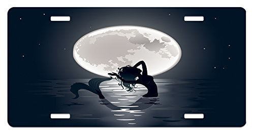 Ambesonne Underwater License Plate, Mermaid Singing at Night Silhouette Full Moon Rays Mythical Ornament Art Print, High Gloss Aluminum Novelty Plate, 5.88 L X 11.88 W Inches, Black Grey
