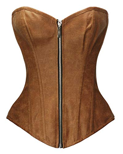 Bslingerie Womens Faux Leather Zipper Front Bustier Corset (XL, Brown)