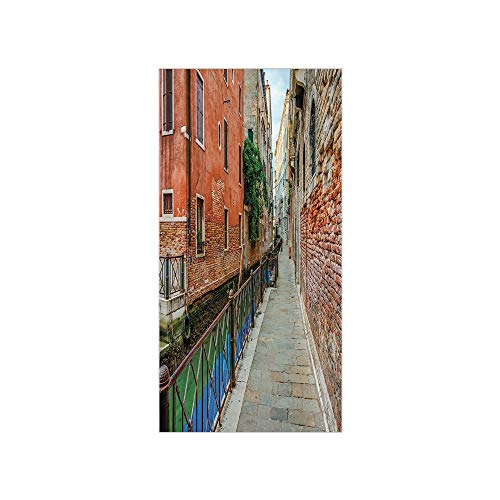 (3D Decorative Film Privacy Window Film No Glue,Venice,Empty Idyllic Streets of Venezia Travel Destination Romantic Vacation Old Buildings,Multicolor,for Home&Office)