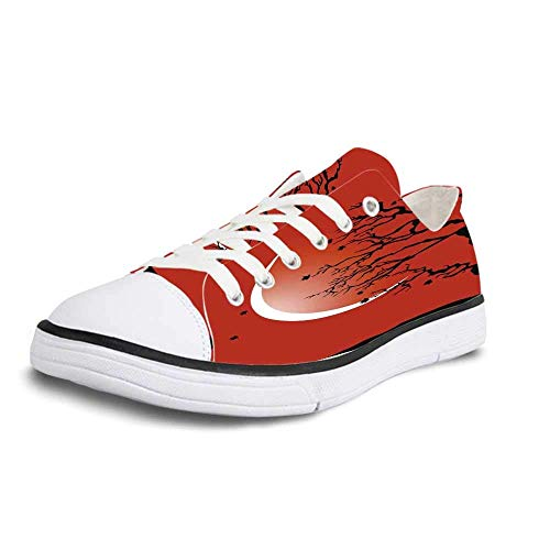 Canvas Sneaker Low Top Shoes,Modern Digital Nature Scene with Tree Windy Branches Crescent Moon and Stars Artwork Women 5 (Flag With Crescent Moon And 5 Stars)