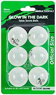 JOOLA Essentials 40mm Plastic Glow in the Dark Table Tennis Balls - 6 Pack Multiuse Ping Pong Balls - Serves a
