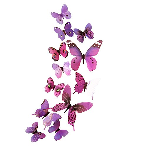 IRENE Wall Stickers Decor 12pcs Decal Home Decorations 3D Butterfly Rainbow Blue (Purple) ()