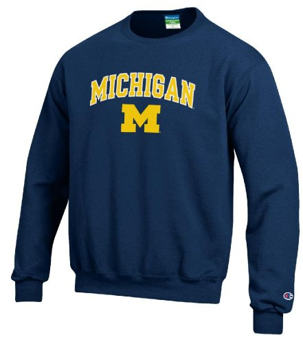 Michigan Wolverines Stadium Powerblend Screened Crew Sweatshirt by Champion (Stadium Crew Sweatshirt)