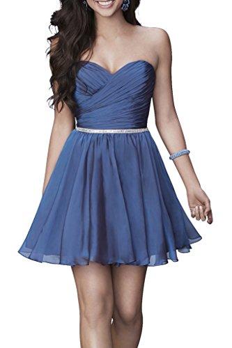 Chiffon Partykleider Heimkehr kleider Mini Damen Charmant Herzausschnitt Kurz Dunkel Cocktailkleider Blau Einfach xAXqxUF