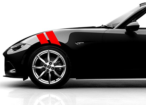 - Clausen's World 4 Inch Fender Bars Vinyl Racing Stripes Decals, Fits Mazda Miata and Most Cars, Driver Side, Red