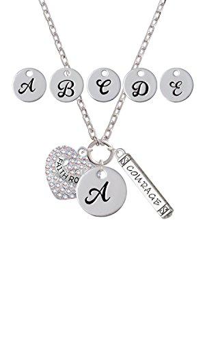 Faith Rocks on AB Crystal Heart Custom Initial Courage Strength Zoe (Strength Courage Faith Heart)