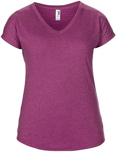 Anvil damska koszulka z krÓtkim rękawem Tri-Blend z dekoltem w serek: Odzież