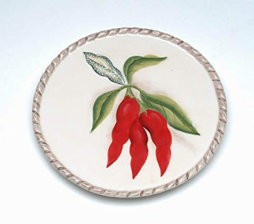 (Fine Ceramic Hand Painted Red Chili Pepper Dessert Plate (Set of 4), 6-3/8