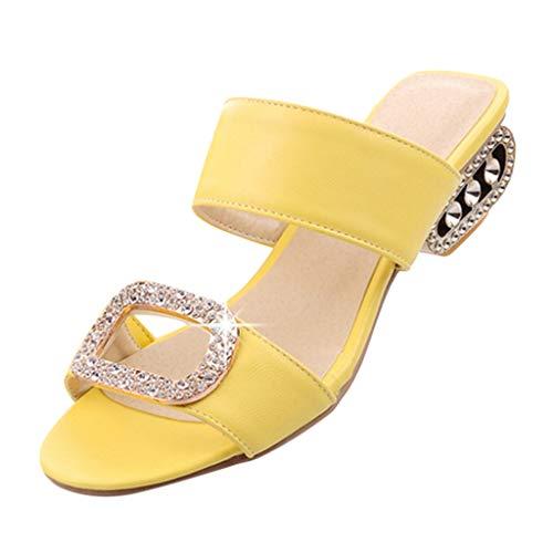 Aunimeifly Women's Low Heel Slippers Ladies Elegant Water Crystal Peep Toe Slides Sandals Shoes Yellow