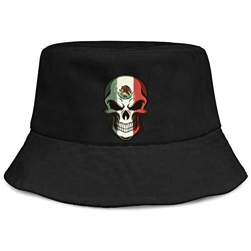 Mexican-Skull-Tattoo-Flag-Halloween-Makeup- Cotton Bucket Cap Girls Sun Hat Bucket Hat Fishing Hat Rock Cap Flat-Brimmed Hat