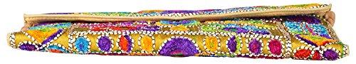 for Girls Yellow Bag 6 Foldover Inches Women 9 Rajasthani Art Sling amp; Clutch Jaipuri qpwzgwUW6