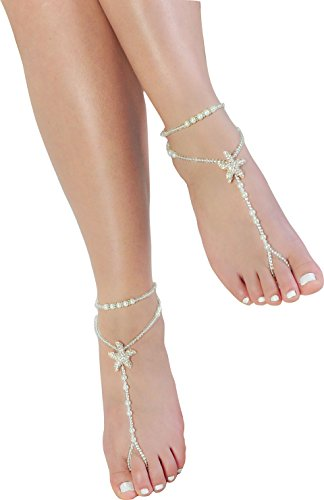 Fine Lady Kid Barefoot Sandals,Flower Girl Anklet Flexible Starfish Foot Jewelry