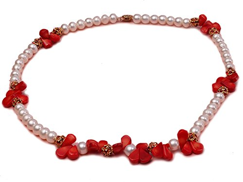 (JYX Pearl Necklace Natural 9-10mm White Flat Freshwater Pearl Necklace with Red Coral for Women 24