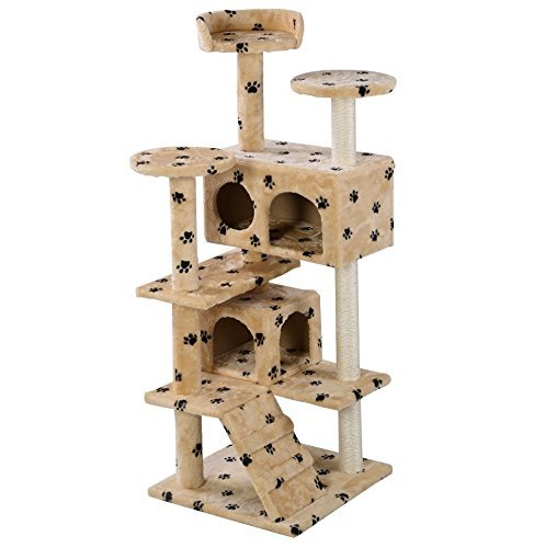 new-52-cat-tree-tower-condo-furniture-scratch-post-kitty-pet-house-play-soft-plush-beige-paws