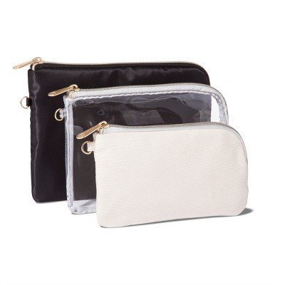 Sonia Kashuk153; Purse 3pc Compact Makeup Bag Set - Black/Clear MULTI-COLORED