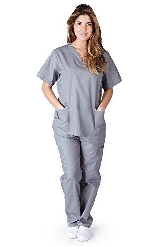 Contrast Trim Scrub Set - Natural Uniforms Womens Contrast Trim Scallop Scrub Set (Grey) (M)