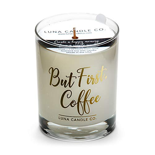 Luna Candle Co. Simple Caramel Coffee Jar Candle, Luxurios 11oz. Glass, Slow Burn Up to 110 Hours of Burn Time, Hints of Caramel and Nut, Crafted in The USA- But First, Coffee