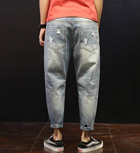 Casuales Destroyed Battercake Mezclilla De Pants Cómodo Vaqueros Fit Stil1 Harem Los Slim Ripped Pantalones Estiramiento Hombres Loose rFXwFxqyPp