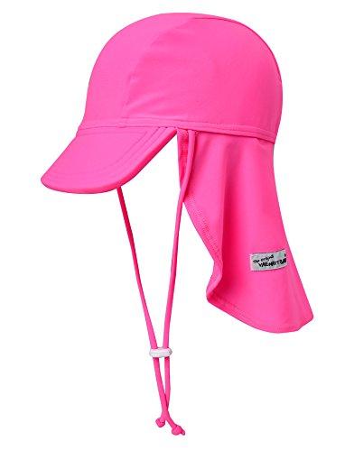 Vaenait baby Girls Sun Protection Sporty Flap Swim hat UV Flap Cap Neon Pink S
