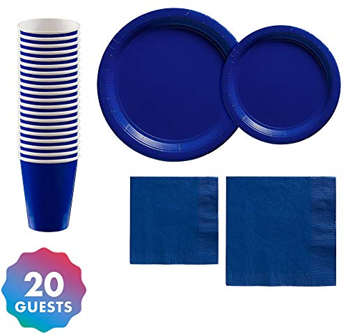 Party City Solid Royal Blue Tableware Supplies for 20 Guests, Include 2 Sizes of Plates and Napkins, plus Paper Cups