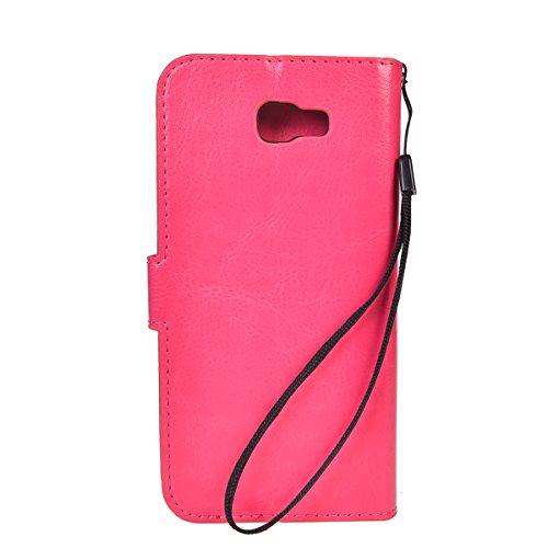 Galaxy J5 Prime Funda,COOLKE Retro PU Leather Wallet With Card Pouch Stand de protección Funda Carcasa Cuero Tapa Case Cover para Samsung Galaxy J5 Prime SM-G570F/DD - Negro Rosa