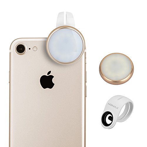 MOMAX Selfie Ring Light for Camera, Universal Clip-On Selfie LED Camera Light [12 LED with Rechargeable Battery] for iPhone iPad Sumsung Galaxy Photography Phones,Champagne by MOMAX