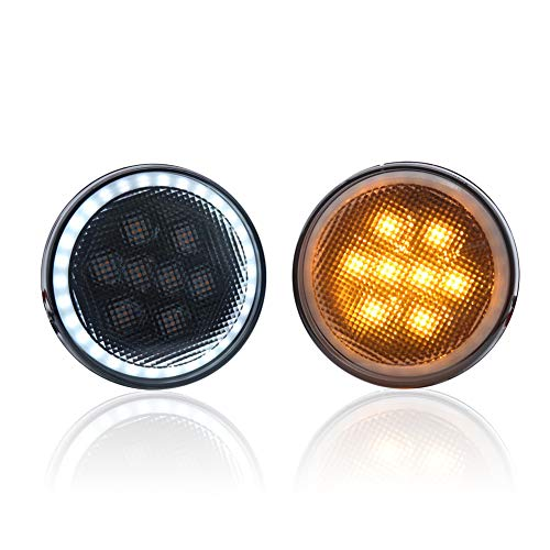 (Didieyes 1 Pair Smoked Lens Amber Yellow LED Grille Front Bumper Turn Signal Fog Lights with White DRL Halo Light for Jeep Wrangler JK 07-17 (White))