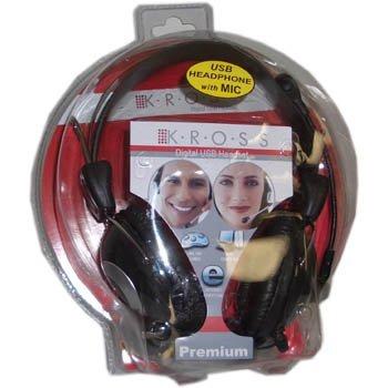 KROSS Premium HI-FI Digital USB Headphones With Mic Headset Gaming