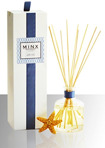 MINX Fragrances 48hr Sale! Ocean Cape Cod Aromatherapy oil Reed Diffuser gift set Clean, Fresh, Sea Salt Beach Scent! | Long Lasting Fragrance | Blue Nautical Decor | Made in the USA