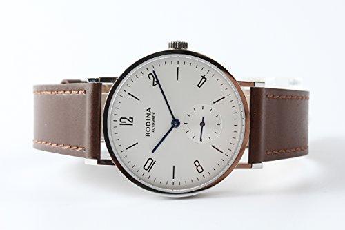 Auténtico rodina R005 automático Reloj de Pulsera, Estilo Bauhaus árabe Plateado Esfera Blanca Correa de marrón diseño de Gaviota ST17 Movimiento: ...