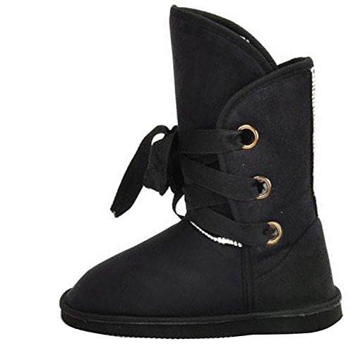 Donne Inverno Caldo Diamante Fiore Pelliccia Stivali Da Neve Alla Caviglia Moda Scarpe Piatte Comfort Nero